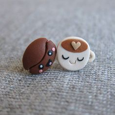 Details about Handmade Miniature Food Brown Coffee Bean Cup Small Stud Funny Earrings Jewelry Polymer Clay Kunst, Polymer Clay Kawaii, Polymer Clay Miniatures, Polymer Clay Charms, Polymer Clay Projects, Polymer Clay Creations, Polymer Clay Earrings, Clay Crafts, Crea Fimo