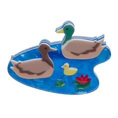 "Erstwilder Limited Edition Duck and Drakes Brooch. ""A bit of pond-side serenity sounds great to me. No ugly ducklings here just one happy waterfowl family. Quirky Gifts, Unique Gifts, My Collection, Fall 2016, Pet Birds, Drake, Pin Up, Kitty, Hand Painted"