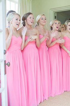 bridesmaids, so pretty in pink!! via @iloveswmag #PinkWeddingIdeas