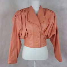 Vintage 1980's Chia Crop Leather Jacket/Coat  Peach Size Small/Medium #Chia #Clubwear