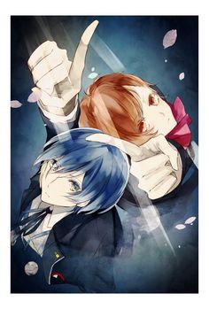 Minato and Minako by 莉汰 Persona 3 Portable, Shin Megami Tensei Persona, Persona 4, Art Thou, Memento Mori, Anime Couples, Storytelling, Cute Pictures, Fan Art