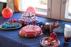 Spiderman Theme, Birthdays, Birthday Cake, Cupcakes, Table Decorations, Desserts, Food, Design, Anniversaries