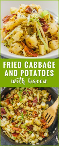 This is a really easy fried cabbage and potatoes recipe with crispy bacon. Only six ingredients and one pan needed. soup recipes rolls pickled steaks boiled sauteed fried casserole salad roasted stuffed cabbage and sausage southern cabbage k Side Dish Recipes, Veggie Recipes, Vegetarian Recipes, Cooking Recipes, Healthy Recipes, Vegetarian Casserole, Sausage Recipes, Vegetarian Cooking, Cheap Recipes