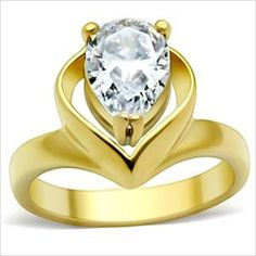 Pear cut 1.8ct cz Solitaire Engagement Ring Gold-plated Cubic Zirconia