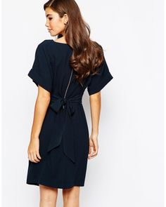 Closet | Blue Kimono Sleeve Midi Dress With Tie Back Detail And Split Front | Lyst