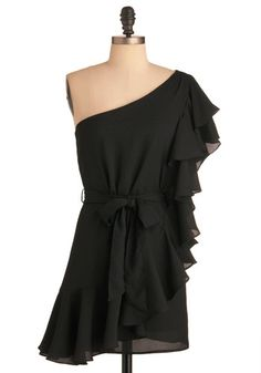 cute one shoulder black ruffle dress, i thought this was a shirt...i'd have to have some pants with this one.