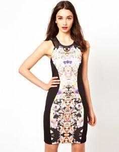 A Wear Floral Panel Body-Conscious Midi Dress.