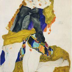 Egon Schiele's kneeling girls, 1911 #vienna #art #womeninart #egonschiele #schiele