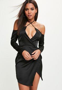 Missguided - Black Silky Bardot Shift Dress