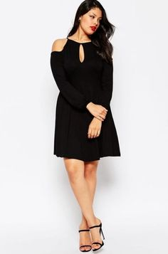 Find the best selection of ASOS CURVE Skater Dress With Cold Shoulder & Key Hole Detail. Shop today with free delivery and returns (Ts&Cs apply) with ASOS! Dressy Dresses, Short Dresses, Cool Outfits, Fashion Outfits, Womens Fashion, Style Simple, Beauty And Fashion, Plus Size Kleidung, Vestido Casual