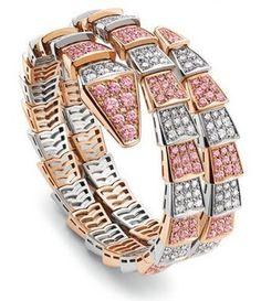 Bulgari bracelet serpenti en or blanc, or rose , diamant blanc et diamant  rose. da97ae05ea7