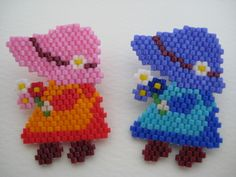 サンボンネットスー(レッド)のブローチ♪画像1 Seed Bead Crafts, Stitch Doll, Brick Stitch Earrings, Peyote Patterns, Beading Patterns, Beads Pictures, Beaded Animals, Peyote Beading, Peyote Stitch