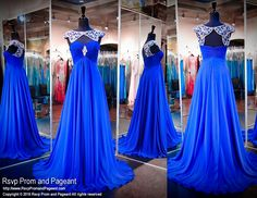 Royal Blue Chiffon Evening Gown-Beaded Neckline-Cap Sleeves-Keyhole Back-116CLAR067250