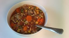 This vegetable beef soup with tomatoes is quick, easy, and tasty! Easy Vegetable Beef Soup, Ground Turkey Dinners, Ritz Crackers, Mixed Vegetables, Ground Beef, Paleo, Tasty, Stuffed Peppers, Allrecipes