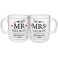 A pair of Mr & Mrs china mugs that can be personalised on the front with the couples surname up to a maximum of 12 characters and the date of this very happy occasion. On the back of the mug you can add a personalised message over 3 lines of text with up to 20 characters per line.