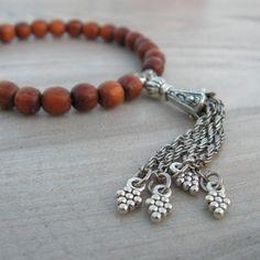 Gypsy Mala Bracelet   Burnt Orange Wood with Chain Tassel ~ GypsyIntent