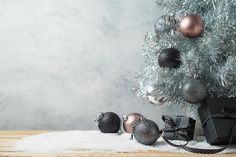 Modern Christmas background with gift boxes, pine tree and orna stock photos Winter Background, Christmas Background, Modern Christmas, Christmas Photos, Christmas Facebook Cover, Winter Images, Pine Tree, Wooden Tables, Gift Boxes