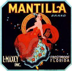 Frostproof Florida Mantilla Orange Crate Label Art Print - Florida Citrus Fruit Crate Label Art Prints - Fruit and Vegetable Crate Label Art Prints Vintage Labels, Vintage Postcards, Vintage Ads, Vintage Ephemera, Vintage Signs, Retro Advertising, Vintage Advertisements, Retro Ads, Orange Crate Labels