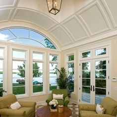 A well-arranged sunroom is particularly the glass-in living area of the house that is all attached to the house building. The main purpose of the creation of a sunroom plan is to arrange an additional living area during the extremely hot summers or t Home Design, Interior Design, Design Design, Interior Decorating, Ventana Windows, Dark Wood Coffee Table, Mismatched Furniture, Traditional Porch, Traditional Design