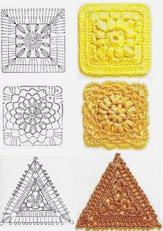 "Crochet square with graphic I love crocheting and I'm in love with Patchwor Quilt block . Here you'll learn how to crochet Square ""Grandma. Point Granny Au Crochet, Granny Square Crochet Pattern, Crochet Blocks, Crochet Diagram, Crochet Chart, Crochet Squares, Granny Squares, Crochet Triangle, Triangle Pattern"
