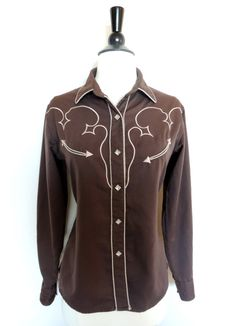 Vintage WESTERN COWBOY SHIRT with Diamond Snap Pearl by BoWinston, $45.00