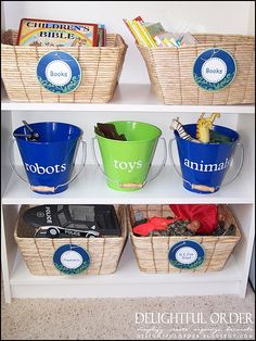 Kids' play area! Get organized and make it easy for your kids to put away the toys