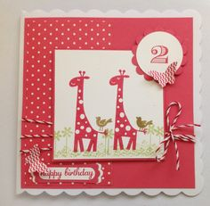 Stampin up card for 2 year old using DSP, Wild about You retired stamp set