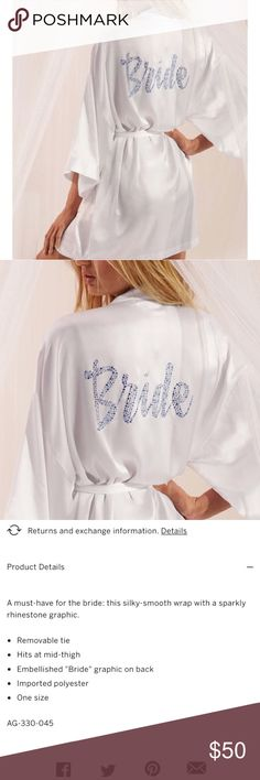 VS Satin and Crystal Bride Robe! Gorgeous allover white Satin and tie with blue crystals on the back reading bride! So beautiful and glamorous! ♥️  Brand new with tags! No holds or trades! Final price unless bundled. And I only sell on posh :) IN2000 Victoria's Secret Intimates & Sleepwear Robes