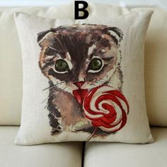 Glasses cat throw pillow for home decor hand-painted cartoon style