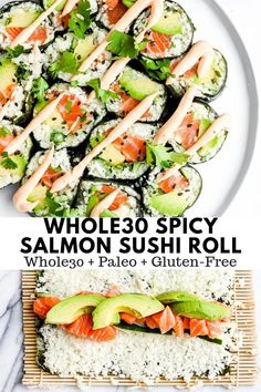 Spicy Salmon and Avocado Cauliflower Rice Sushi Roll - yes you can still have sushi while eating Paleo, Gluten-Free or sushi paleosushiroll homemadesushi howtomakeushi glutenfreesushi glutenfreerecipes paleorecipes 367606388332291192 Lunch Recipes, Seafood Recipes, Paleo Recipes, Healthy Dinner Recipes, Sushi Roll Recipes, Paleo Meals, Paleo Food, Free Recipes, Meat Food