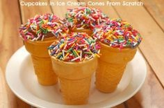 How to Make a Cupcake Cone. Cupcakes and ice cream are two of the best desserts. What's even better is rolling them into one: a cupcake cone. Cupcake cones look like ice cream cones, but they are actually cupcakes! Blue Velvet Cupcakes, Ice Cream Cupcakes, Apple Pie Cupcakes, Tiramisu Cupcakes, Lemon Cupcakes, Flower Cupcakes, Yummy Cupcakes, Wedding Cupcakes, Cupcake Cones