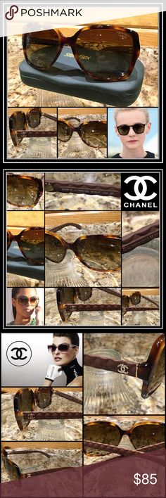 Chanel Kardashian Quilted Chanel Cocoa Sunglasses Brand: Store Display, Authentic CHANEL, Made in Italy. For women Model: 5329  Style: Quilted Frame:   Gold Brown Tortoise shell, acetate, Small bronze Double C's on temples. Cocoa Brown Quilted thin arms Lenses: Polarized, Brown Gradient, UV, Polycarbonate, hard coating, 3P Size: 56-20-135 With: Generic case Additional Info: Preowned not flawless. Has scuffs & scratches from normal wear on lenses and frame. Seen only under close inspection…