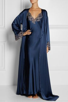 Storm-blue silk-satin  Ties at waist 100% silk Dry clean