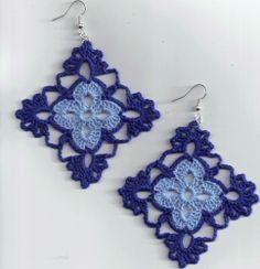Diamond Shape Crochet Earrings with Silver Plated Earring hook 100%  cotton