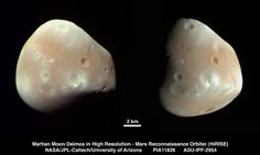 These color-enhanced views of Deimos, the smaller of the two moons of Mars, result from imaging on Feb. 21, 2009, by the High Resolution Imaging Science Experiment (HiRISE) camera on NASA's Mars Reconnaissance Orbiter. Mars Planet, Red Planet, Mars Facts, Mars Moons, 2 Moons, Universe Today, Space And Astronomy, Our Solar System, Mars