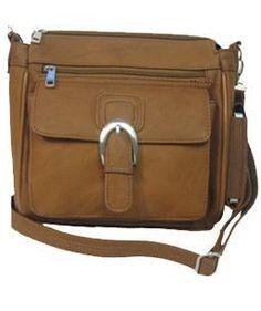 Leather Concealed Carry Handbag Gun Purse / Messenger Style w/ Buckle - Lt Brown $89.99 + Free Shipping! wantedwardrobe.com wantedwardrobe.net #CCW #handbags #fashion