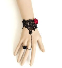 Shiny Vampire Accessories Classic Royal Court Palace Gothic Women Lady Girls Lace Chain Wristband Bracelet With Finger Ring And Jewel Jewelry Halloween Decoratioins Present For Costume Ball Fancy Ball Masquerade