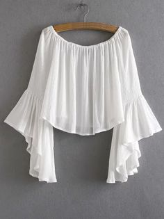 Off-The-Shoulder Bell Sleeve Blouse - WhiteFor Women-romwe