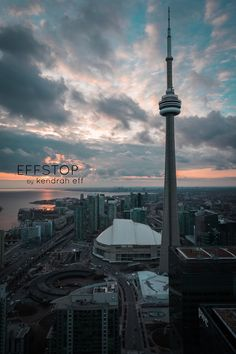 Beautiful Toronto Skyline cotton candy sunset with CN Tower in Ontario Canada. Prints available on Etsy by effstop