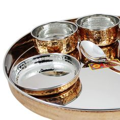 Amazon.com   Indian Dinnerware Stainless Steel Copper Traditional Dinner Set of Thali Plate, Bowls, Glass and Spoon, Diameter 13 Inch: Bowls