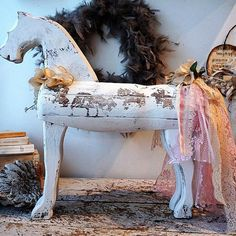 White distressed wooden horse shabby cottage chic popular primitive embellished lace tail antique millinery flowers decor anita spero design  175