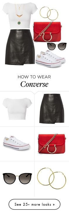 """""""Untitled #1894"""" by krocker on Polyvore featuring Michelle Mason, Converse, Topshop, Melissa Odabash, Helmut Lang and Gucci"""