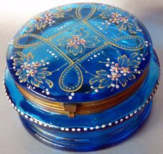 Decorative Arts Antique Blue Glass Bohemian Enameled Moser Dresser Jewelry Pill Box Mirror Glass