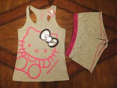 NWT Womens HELLO KITTY Gray Boxers Sleep Shorts & Tank Top Pajama Set SEQUINS  #HelloKitty #SleepwearSet