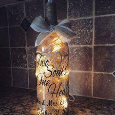 Two Souls One Heart rustic wedding wine bottle by BERKSWINEDESIGN