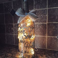 Two Souls One Heart rustic wedding wine bottle от BERKSWINEDESIGN