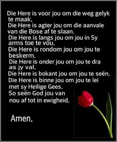 Die Here is voor jou, langsaan jou, en agter jou. Special Words, Special Quotes, Prayer Verses, Bible Verses, Grieving Quotes, Afrikaanse Quotes, Prayer Board, Happy Birthday Images, Good Morning Wishes