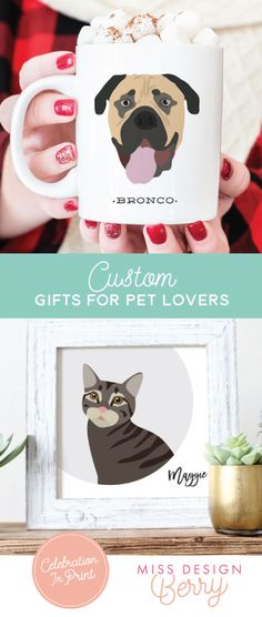Shop custom holiday gift ideas for the pet lovers in your life, from Miss Design Berry
