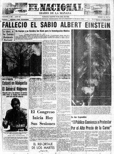 Muerte de Albert Einstein. Publicado el 19 de abril de 1955
