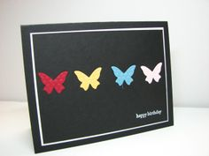 SU Beautiful Butterflies Embosslit Card  - color on black - bjl